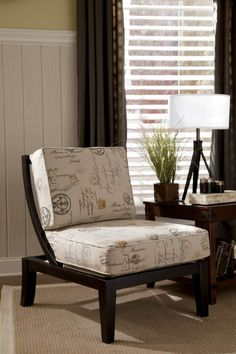 Kinning Charcoal Wood Fabric Showood Accent Chair