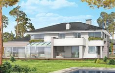 Projekt domu Prestiżowy 402,65 m2 - koszt budowy - EXTRADOM Bungalows, Architectural House Plans, Home Fashion, Mansions, House Styles, Outdoor Decor, Home Decor, Plants, Two Story Houses