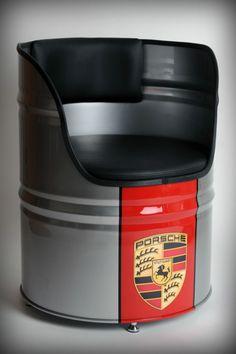 Vintage Harley Davidson,Porsche,GULF or other design retro oil drum seat/chair