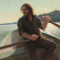 Jeremy Lipking, Self portrait as a Zorn painting. Hard to paint and row at the same time! #multitasking