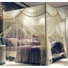 How to Decorate a bohemian canopy bed curtains that will blow your mind Canopy Bed Curtains, Diy Curtains, Ebay Tips, Curtains Walmart, Ikea, Purple Bedrooms, Curtain Lights, Bedroom Vintage