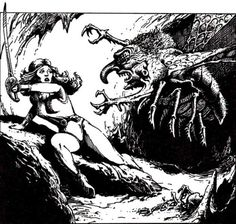 In the lair of the the chasme, a loathsome fly demon. (Jeff Easley from AD&D module S4: The Lost Caverns of Tsojcanth, TSR, 1982.)