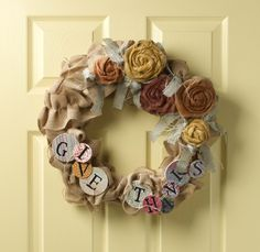 Give Thanks Wreath by Jane Chandler via Paint me Plaid newsletter #thanksgiving #craft #wreath