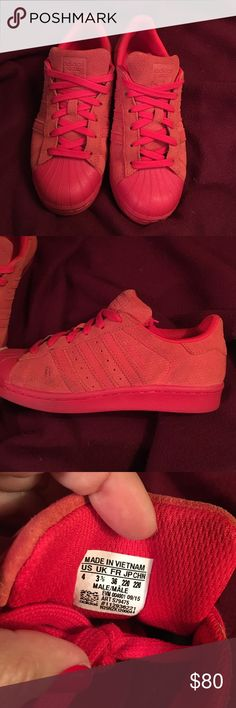 Red superstar adidas They are a size 6.5 for women, one shoe is a bit dirty but it's cleanable adidas Shoes Athletic Shoes