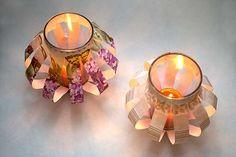 Faça castiçais decorados reciclando copos de requeijão.