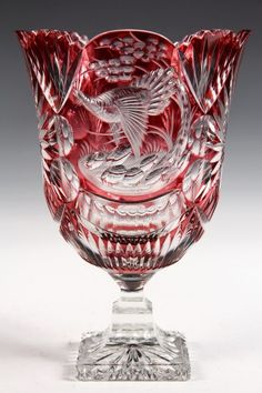 Lot:CZECH ART GLASS - Bohemian Cranberry Cut to Clear, Lot Number:1016, Starting Bid:$100, Auctioneer:Thomaston Place Auction Galleries, Auction:CZECH ART GLASS - Bohemian Cranberry Cut to Clear, Date:06:00 AM PT - Feb 9th, 2014