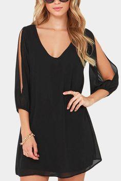 6b8e2a143f33 Black V-neck Cold Shoulder 3 4 Length Sleeves Chiffon Dress Chiffon Dresses