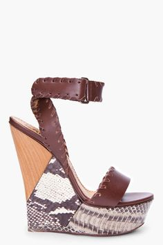 Lanvin brown snakeskin puzzle wedges.