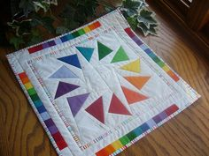 Colorwheel Geese Mini Quilt with Prismatic Borders
