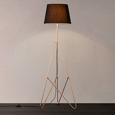 Buy Black / Copper John Lewis Albus Floor Lamp from our Floor Lamps range at John Lewis. Copper Lamps, Copper Lighting, Bedside Lamp, Tripod Lamp, Loft Room, Black Floor Lamp, Cool Lamps, Flat Ideas