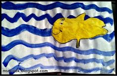 Kindergarten, Red Fish Blue Fish, primary colors, types of lines, Dr. Red Fish Blue Fish, Fish Art, Art Lessons, Primary Colors, Kindergarten, Crafts, Teacher Blogs, Special Education, Cure