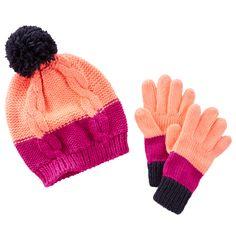 OshKosh Colorblock Hat & Gloves Set