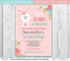 SOME BUNNY Is turning one invitations BUNNY Birthday party