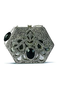 Meera Mahadevia clutch collection, Vintage pick, carry it with your long dark colored cocktail gown