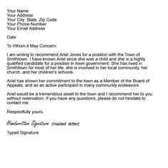 letter of recommendation template for employment