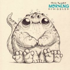 Fingers and toes… #morningscribbles.  Artist Chris Ryniak. Cute critters and monsters creator
