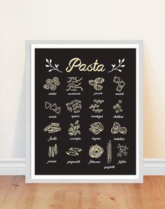 Pasta Print Kitchen Art Print Italian Food Print by bonmotprints