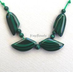 Malachite Focal Beads Leaf Set 11 pieces by YayBeads