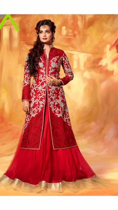 Red asian jacket lengha