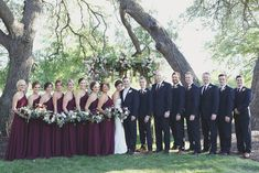 Wine and navy bridal party