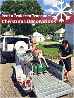 Some items are too large to simply drive home without a rental -- Daniel and his wife Cathy were antique shopping when they found this unique Rudolph the Red Nosed Raindeer Ride. They decided to rent a U-Haul trailer to transport this amazing Christmas Decoration/ Game to their home. | DIY Holiday Decor and Recipes