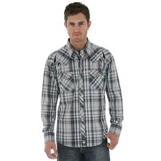 Wrangler Rock 47 Long Sleeve Dress Plaid Shirt $49.95