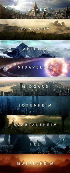 9 worlds - Marvel Universe 9 worlds Marvel Movies Timeline, Marvel Films, Marvel Characters, Marvel Avengers, Marvel Dc Comics, Marvel Heroes, Asgard Marvel, Funny Avengers, Captain Marvel