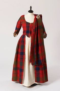 Elizabeth Fraser's tartan wedding gown, c. 1785, though the fabric is probably dated to 1740-60.
