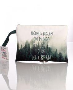 #Neseser-bolsa de mano plano de tela con el dibujo de un bosque