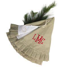 Jute Monogrammed Ruffle Tree Skirt