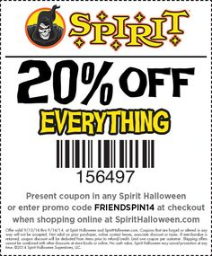 "LEARN TO REDEEM YOUR SPIRIT HALLOWEEN COUPON. Pull out all the stops with wigs, fangs, and false teeth when you shop at Spirit Halloween. Get all your accessories and costumes for less when you use Spirit Halloween coupons. Here's how you redeem the offers on this page. Click on the button that reads ""Get Coupon and Open Site"".4/5(1)."