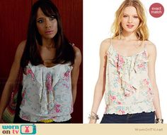 Rosie's white floral printed ruffled top on Devious Maids.  Outfit Details: http://wornontv.net/34269/ #DeviousMaids