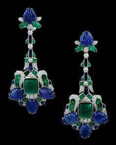 Art Deco emerald & sapphire earrings by cecile Art Deco Jewelry, I Love Jewelry, Bling Jewelry, Jewelry Design, Teen Jewelry, Silver Jewellery, Amethyst Jewelry, Bullet Jewelry, High Jewelry