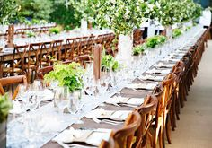 Dinner party with wood chairs, an array of plants, and white and brown tablecloths