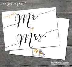 """""""Congrats Mr. & Mrs.""""  Gold and Black  -Perfect card to give the Bride and Groom-   by PaperPigeonDesigns on Etsy"""