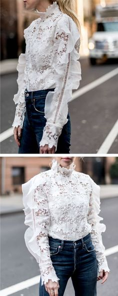 Stepping out in this floral crochet top with its exaggerated shoulders full of frills… Fashion Mode, High Fashion, Womens Fashion, Fashion Trends, Fashion Details, Love Fashion, Fashion Design, Inspiration Mode, Beautiful Blouses