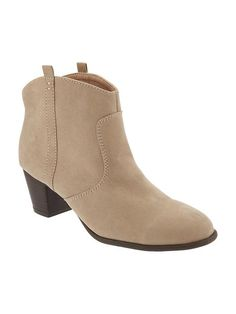 Sueded Western Ankle Boots