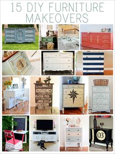 vintage furniture makeovers; especially love the coral & navy blue/white stripe dressers.