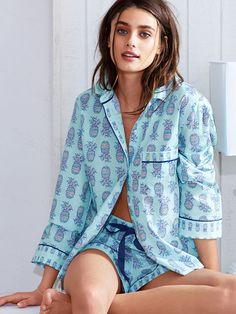 The Mayfair Boxer Pajama xl - blue pineapples and pretty in palms Pajamas For Teens, Cute Pajamas, Silk Pajamas, Comfy Pajamas, Pyjamas, Taylor Hill Style, Taylor Marie Hill, Satin Pyjama Set, Pajama Set