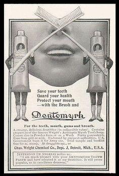 Crossed Tooth Brush AD 1901 Dentomyrh Tube Toothpaste Photo Antique AD