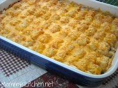 """Mommy's Kitchen: Tater Tot Casserole """"Weeknight Easy"""" Tater Tot Casserole 1 1/2 - 2 lbs. ground beef 1/2 - onion, diced 1 - package ore ida crispy crowns or tater tots (32 oz) 1 - 10 oz can cream of mushroom soup 1 - 8 oz container sour cream 1 - cup milk 2 - cups grated cheddar cheese pepper, to taste season salt, to taste garlic salt, to taste"""