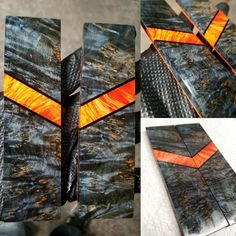 Composite knife scales by Chris Rouse 🐦 Wood Resin, Resin Art, Knife Making Tools, Stabilized Wood, Diy Resin Crafts, Knife Handles, Handmade Knives, Custom Knives, Knives And Swords