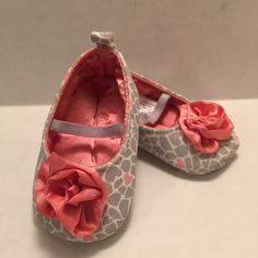 Carter's Newborn Mary Jane Shoes Rose Hearts Baby Girl Pink Gray Child of Mine #Carters #CribShoes
