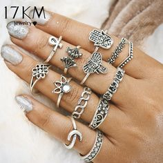 2dbb7aa32b16 17KM Vintage Turkish Hasma Ring Sets Anillos 2017 New Geometric Silver  Color Elephant Knuckle Ring for Women Anillos Jewellery