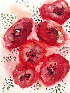 """Deep red poppies splay across a pale pink field amidst a spray of green. To me, the color of a poppy is unmatched by anything else in nature, and these flowers represent the brilliance of nature. This is a 5""""x7"""" painting on paper, mounted on an 8""""x10"""" stretched canvas and framed in a maple floater frame. Your Paintings, Original Paintings, Visual Cue, Red Poppies, Stretched Canvas, Watercolor Paper, Custom Framing, Pale Pink, Poppy"""
