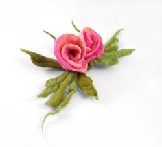 Felted Brooch ALICE IN WONDERLAND felt nuno flower nunofelt silk pink rose green jade olive flower folk boho wool victorian fairy. $29.00, via Etsy.