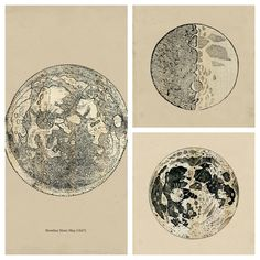 SET of Drawings of the Moon  Astronomy Print Vintage Image. $40.00, via Etsy.