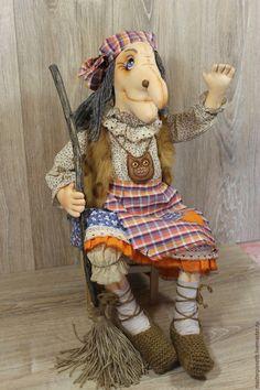 Купить Баба Яга - комбинированный, интерьерная кукла, баба яга, авторская ручная работа, хендмейд
