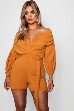 190e618fb840 boohoo Plus Taylor Wrap Off The Shoulder Playsuit