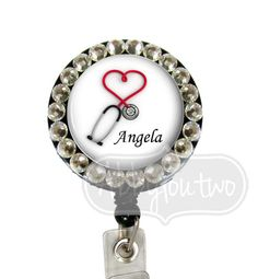 Name Badge Reel Holder Retractable ID Badge -  Nurse Bling Rhinestones -  Personalized with your Name Swarovski Crystals on Etsy, $10.99